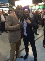 Ovill McKenzie with his good friend Mr George Singh